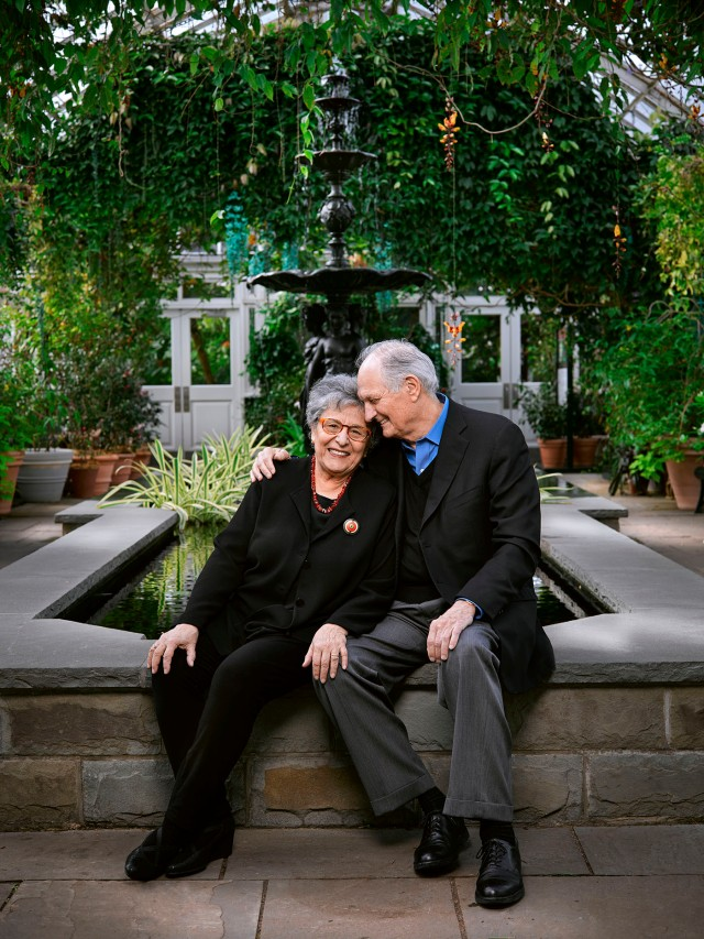 Alan & Arlene Alda photographed at the New York Botanical Garden