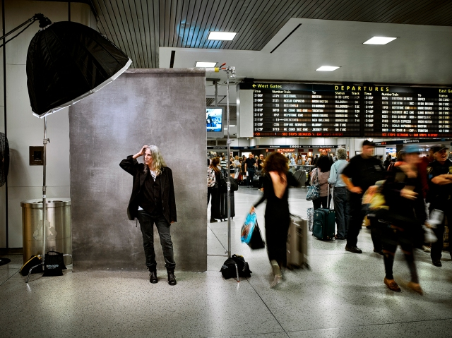 Patti Smith photographed in the Amtrak departure lounge at Penn Station, New York City, 8/27/2015